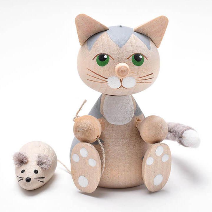 ネズミを連れたお座りネコ(グレイ)
