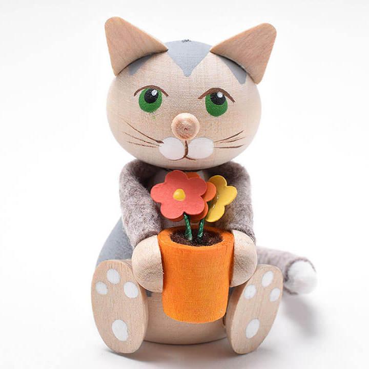 フラワーポットを抱えたお座りネコ(グレイ)