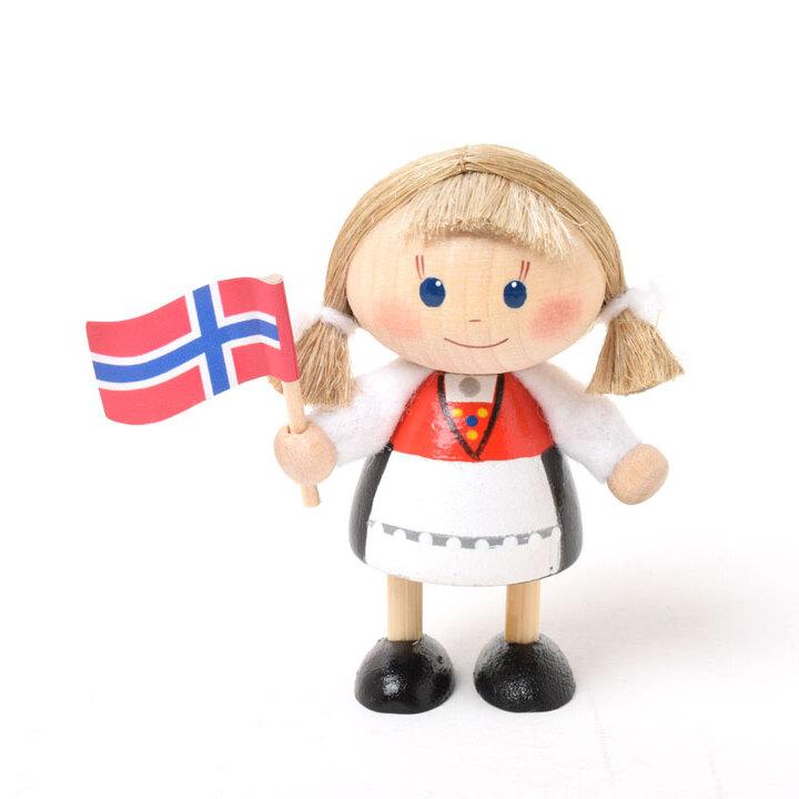 ノルウェーフラッグを持った女の子