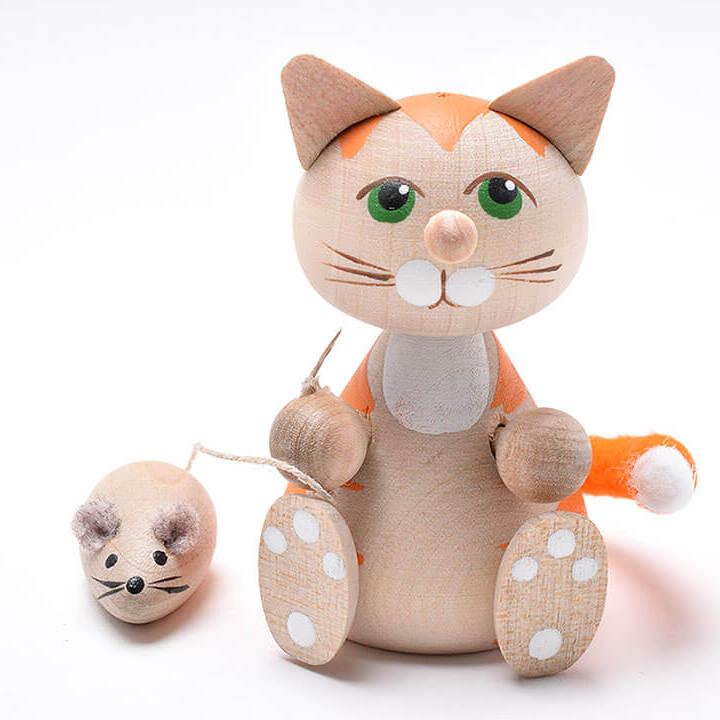 ネズミを連れたお座りネコ(オレンジ)
